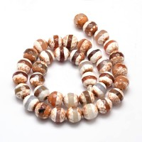 Fire Crackle Agate Beads, Light Cappucc..