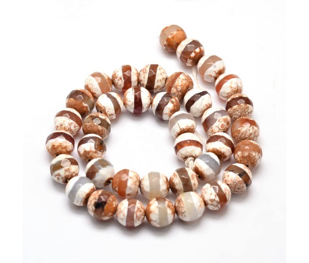 Fire Crackle Agate Beads, Light Cappuccino Stripe, 10mm Faceted Round