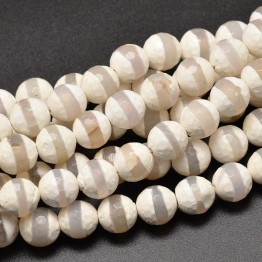 Dzi Agate Beads, White with Clear Stripe, 10mm Faceted Round