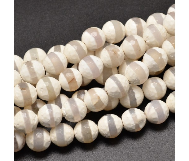 Dzi Agate Beads, White with Clear Stripe, 8mm Faceted Round