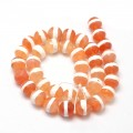 Dzi Agate Beads, Light Caramel with White Stripe, 8mm Faceted Round