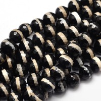 Dzi Agate Beads, Black with Beige Stripe, 8mm Faceted Round