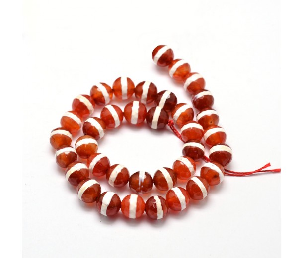 Dzi Agate Beads, Caramel with White Stripe, 8mm Faceted Round