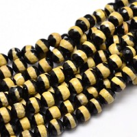 Dzi Agate Beads, Black with Yellow Stripe, 8mm Faceted Round