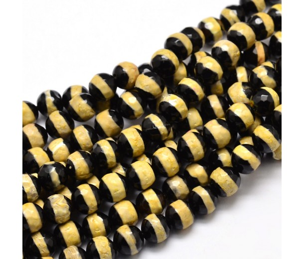 Dzi Agate Beads, Black with Yellow Stripe, 10mm Faceted Round