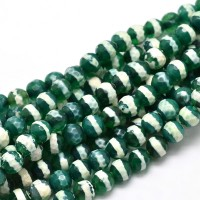 Dzi Agate Beads, Green with White Stripe, 8mm Faceted Round