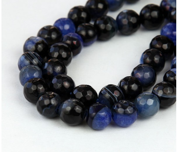 Agate Beads, Black and Blue, 8mm Faceted Round