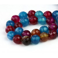 Agate Beads, Blue, Magenta and Brown, 8mm Faceted Round