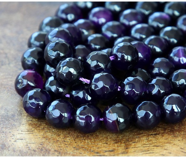 Agate Beads, Eggplant Purple, 8mm Faceted Round