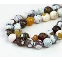 Fire Crackle Agate Beads, Snow Mix, 8mm Faceted Round