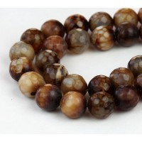 Fire Crackle Agate Beads, Coffee Brown, 10mm Faceted Round