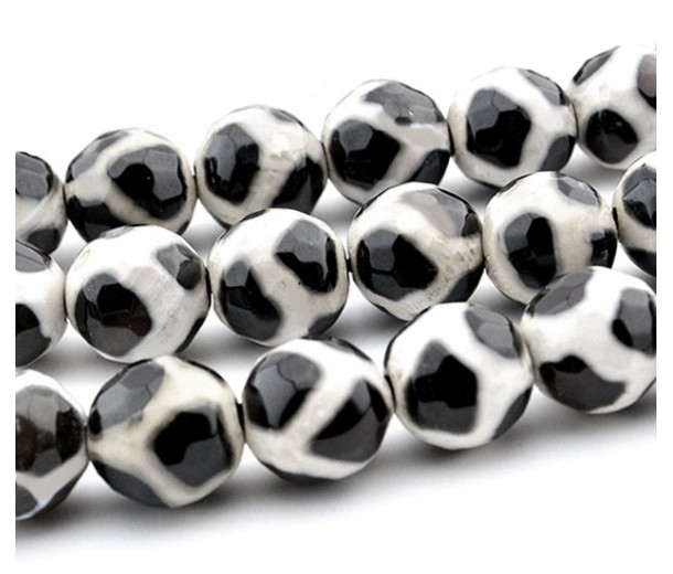 Dzi Agate Beads, Black and White, 10mm Faceted Round