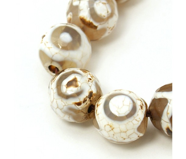 Dzi Agate Beads, Cappuccino Evil Eye, 8mm Faceted Round