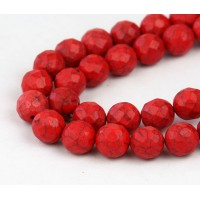 Imitation Turquoise Beads, Red Orange, 10mm Faceted Round