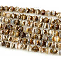 Fire Crackle Agate Beads, Cappuccino Stripe, 8mm Faceted Round
