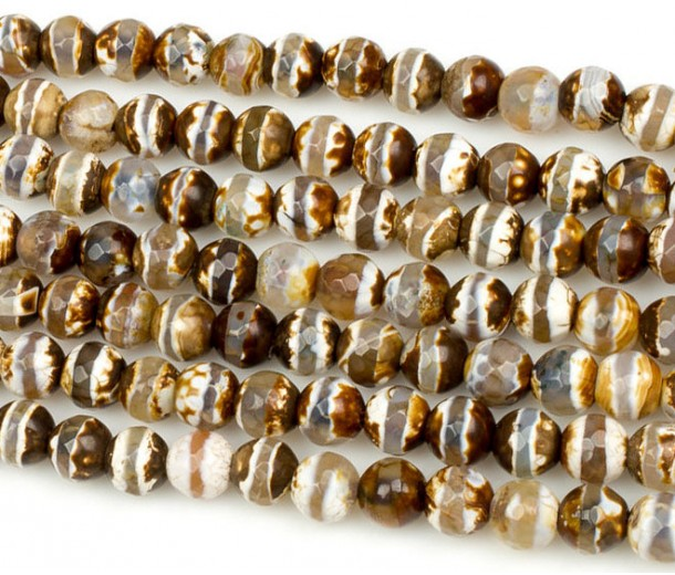 Fire Crackle Agate Beads, Cappuccino Stripe, 10mm Faceted Round
