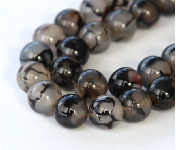 Fire Crackle Agate Beads, Grey Veins, 10mm Round