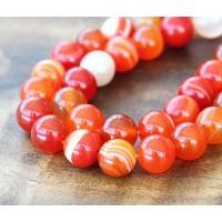 Striped Agate Beads, Bright Orange, 10mm Round