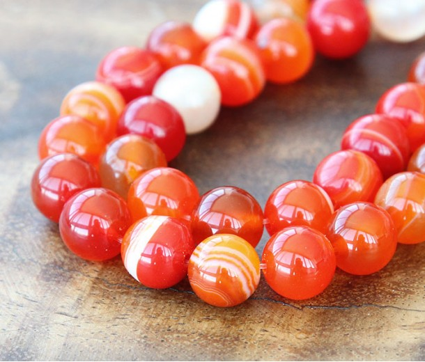 Striped Agate Beads, Red Orange, 10mm Round