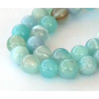 Striped Agate Beads, Milky Teal, 10mm Round