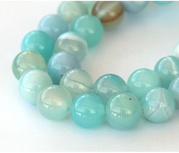 Striped Agate Beads, Milky Teal, 8mm Round