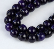 Agate Beads, Eggplant Purple, 10mm Faceted Round