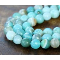 Striped Agate Beads, Aqua, 10mm Faceted Round