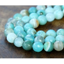 Striped Agate Beads, Aqua, 8mm Faceted Round