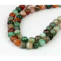Striped Agate Beads, Green and Brown, 6mm Round