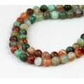 Striped Agate Beads, Green and Brown, 6mm Round, 15 Inch Strand