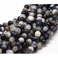 Striped Agate Beads, Black and White, 10mm Round
