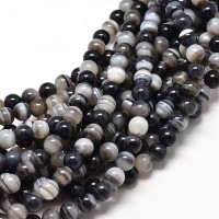 Striped Agate Beads, Black and White, 6mm Round