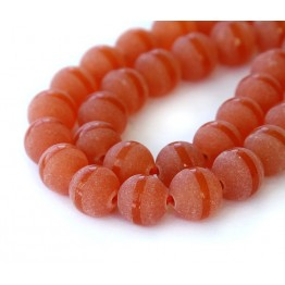 Frosted Agate Beads, Red Orange Stripe, 10mm Round