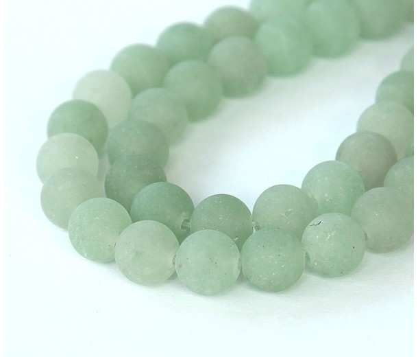 Matte Green Aventurine Beads, 10mm Round
