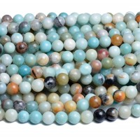 Amazonite Beads, Natural Multicolor, 6mm Round