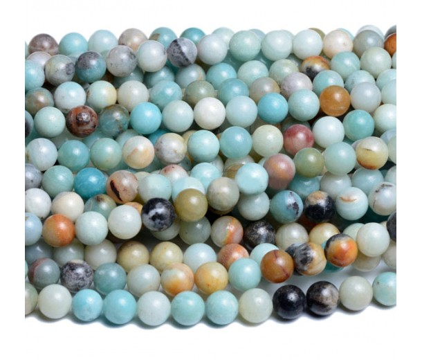 Amazonite Beads, Multicolor, 6mm Round