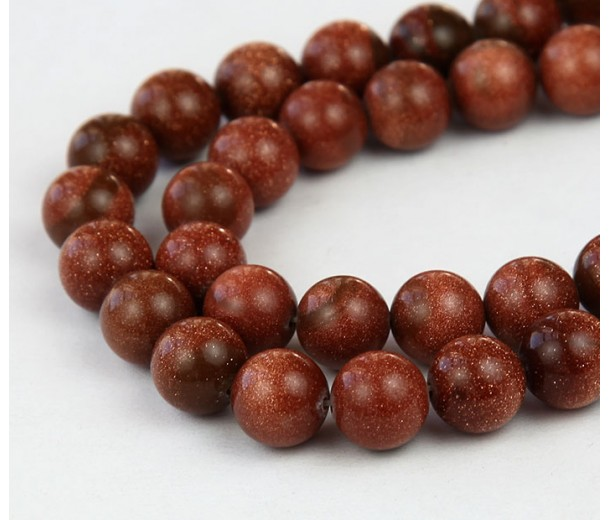 Goldstone Beads, Brown, 10mm Round