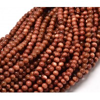 Goldstone Beads, Brown, 4mm Round