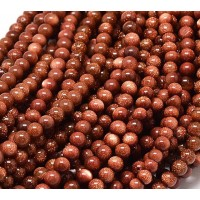 Goldstone Beads, Brown, 6mm Round