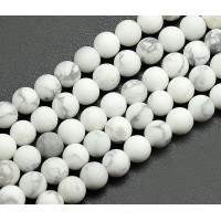 Matte Howlite Beads, White, 12mm Round