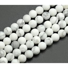 Matte Howlite Beads, White, 6mm Round