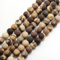 Matte Zebra Jasper Beads, Natural, 6mm Round