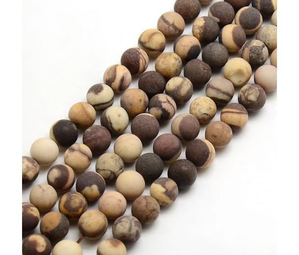 Matte Zebra Jasper Beads, 6mm Round