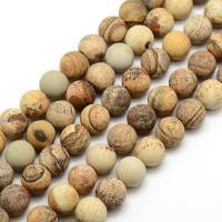 Matte Picture Jasper Beads, 10mm Round