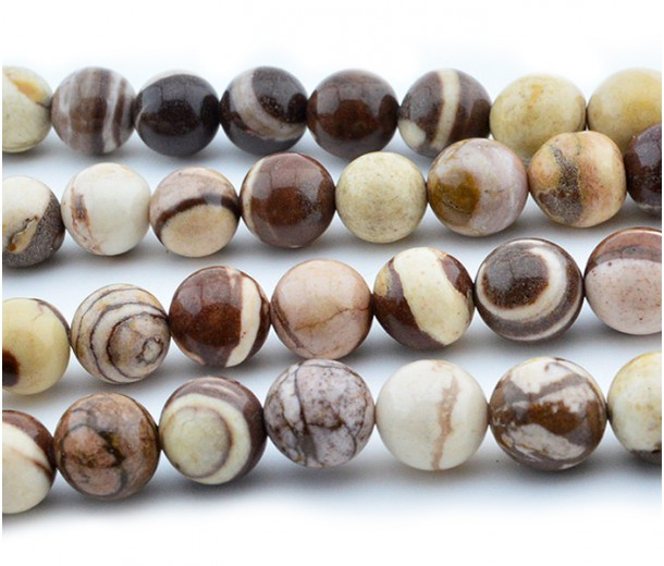 Zebra Jasper Beads, Natural, 8mm Round