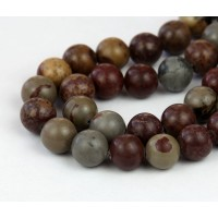 Artistic Jasper Beads, Grey and Brown, 8mm Round