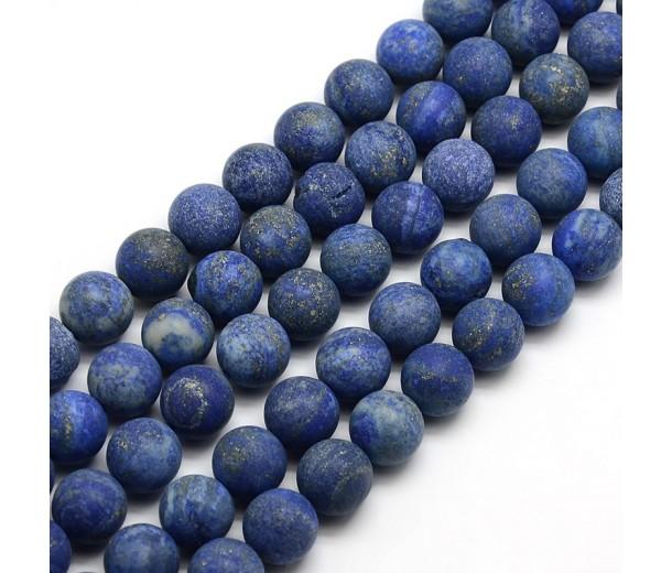 Matte Lapis Lazuli Beads, 8mm Round