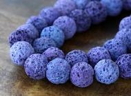 Lava Rock Beads, Purple, 10mm Round