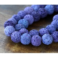 Lava Rock Beads, Purple, 10mm Round