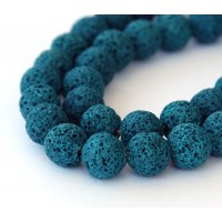 Lava Rock Beads, Blue, 10mm Round